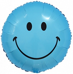 Фольгированный шар голубой смайл