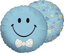 Голубой смайл с бантом фольгированный шар.